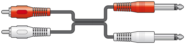 Standard 2x6.3mm Plugs to 2xRCA Plugs 1.2m