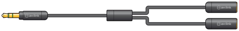 Precision 3.5mm plug to 2 x 3.5mm sockets splitter lead 0.3m