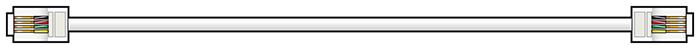 RJ11 Modular lead, 10.0m, White
