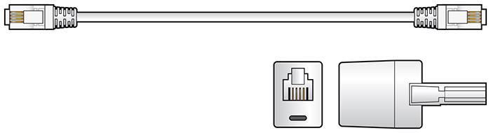 RJ11 Modem Lead with BT Adaptor, 10.0m, White
