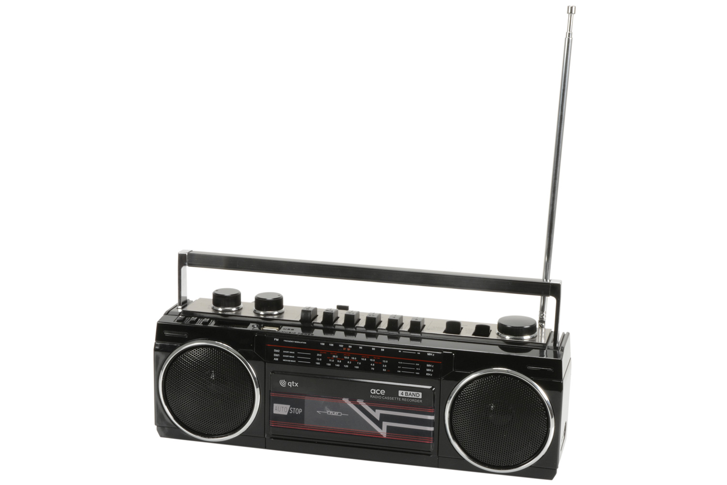 Black Retro Cassette Radio with BT/USB/SD