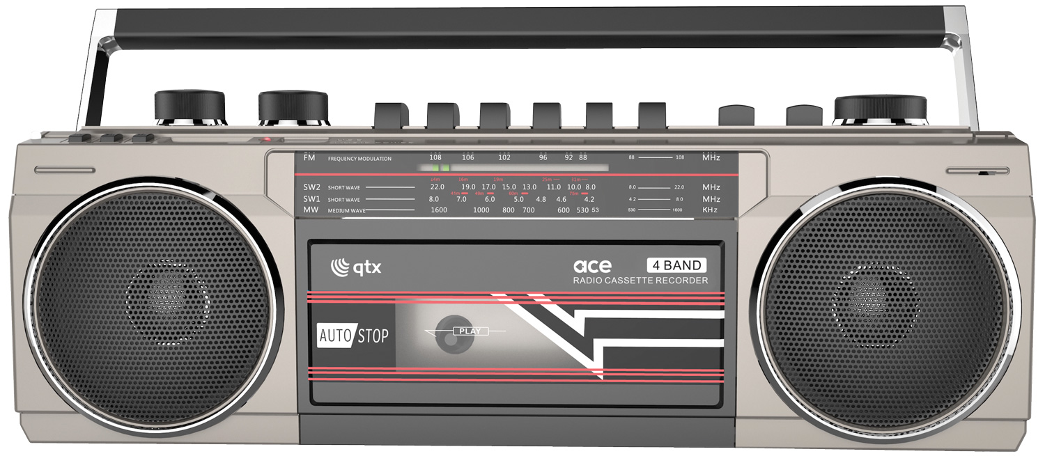 Silver Retro Cassette Radio with BT/USB/SD