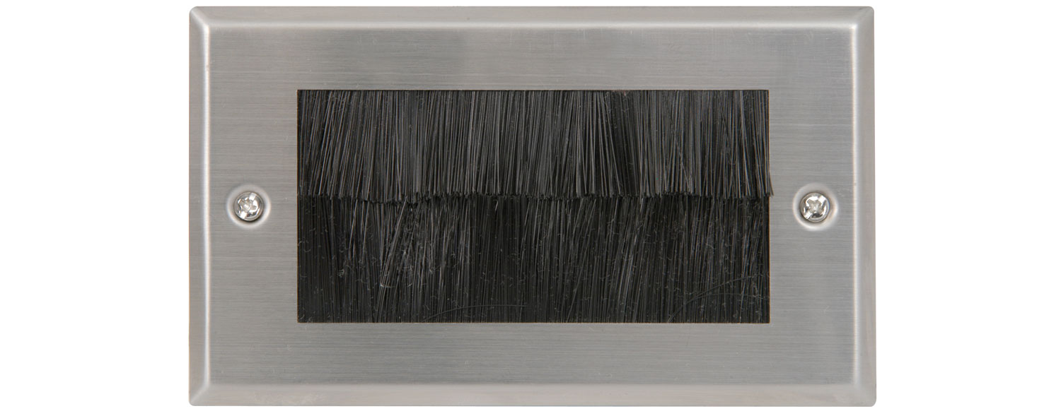 Brush wallplate - double steel