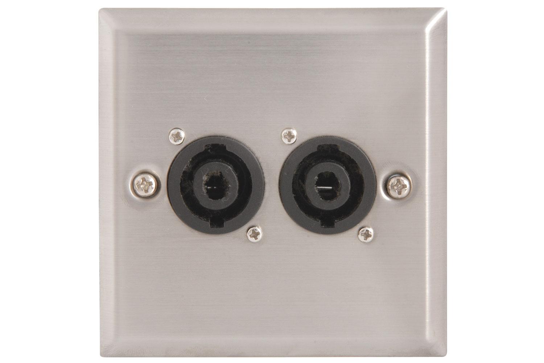 Wallplate 2xSPK 2pole socket