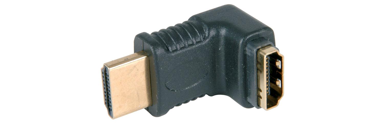 HDMI right angled coupler, plug to socket