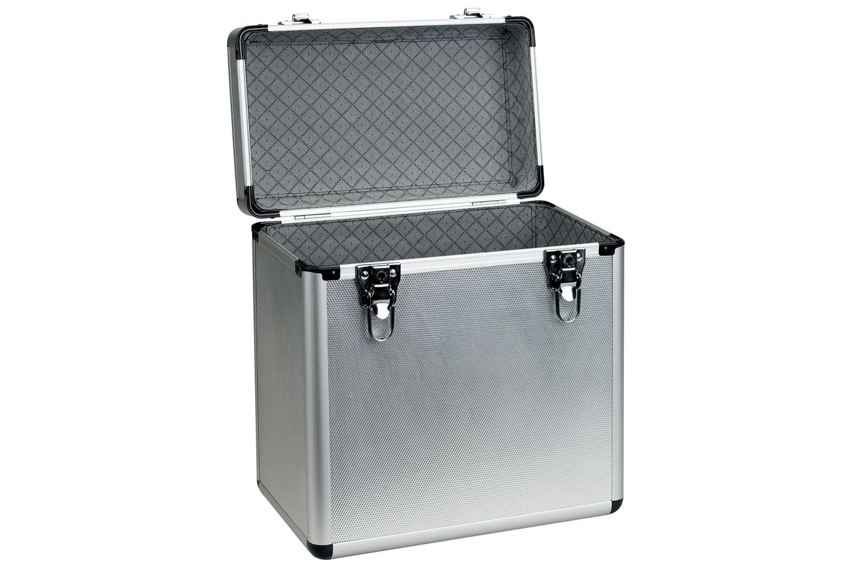 "12"" vinyl flight case, aluminium deluxe, holds 50 x 12"""