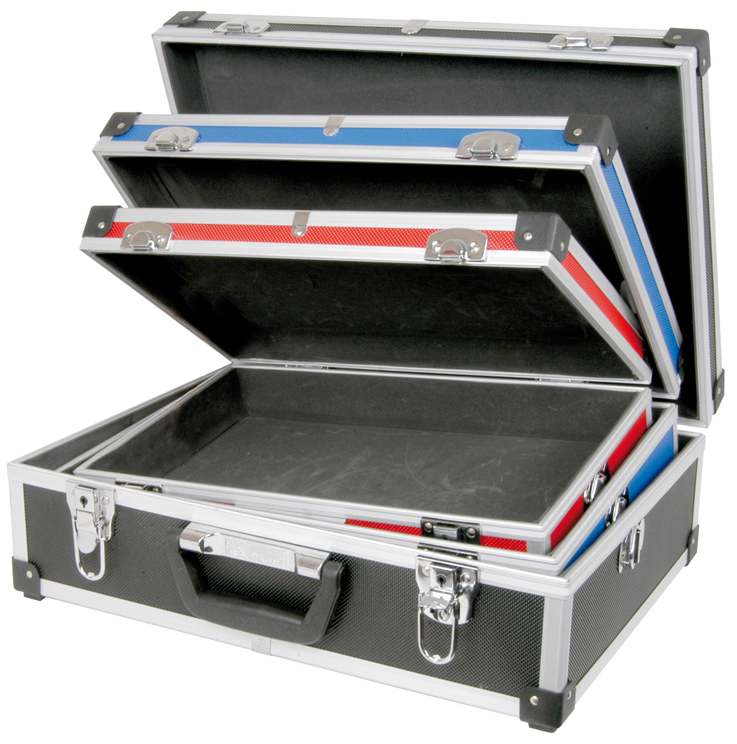 3-in-1 case set, Red, Blue and Black