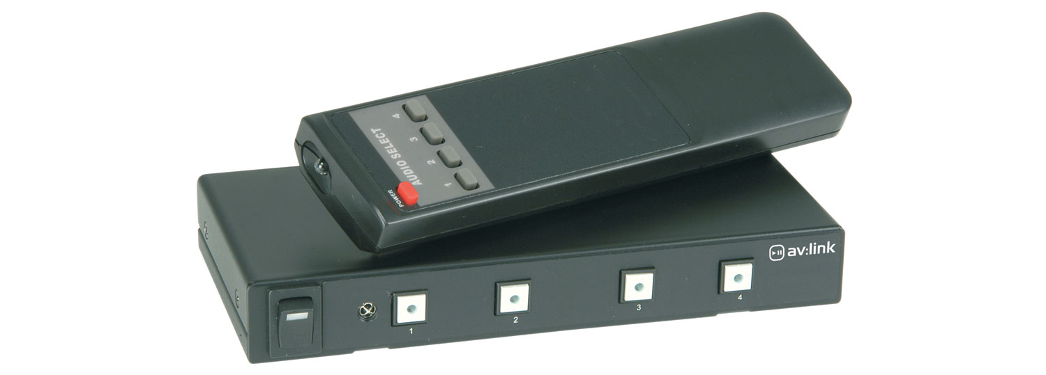 4 Way Stereo Audio Switcher with IR remote Control