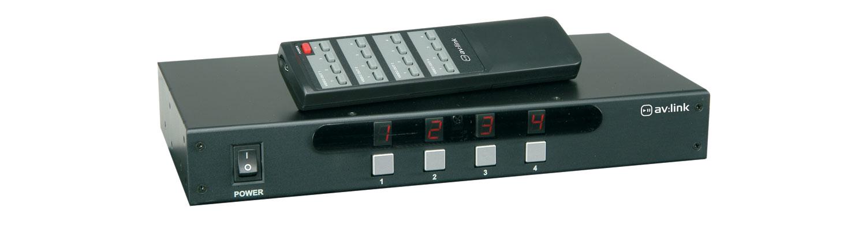 (UK version) 4x4 AV Matrix Switcher with IR Remote Control