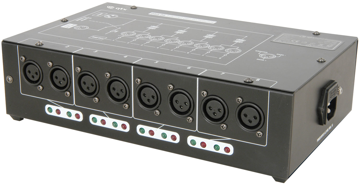 DMX-D8 - 8 Way DMX booster/distributor