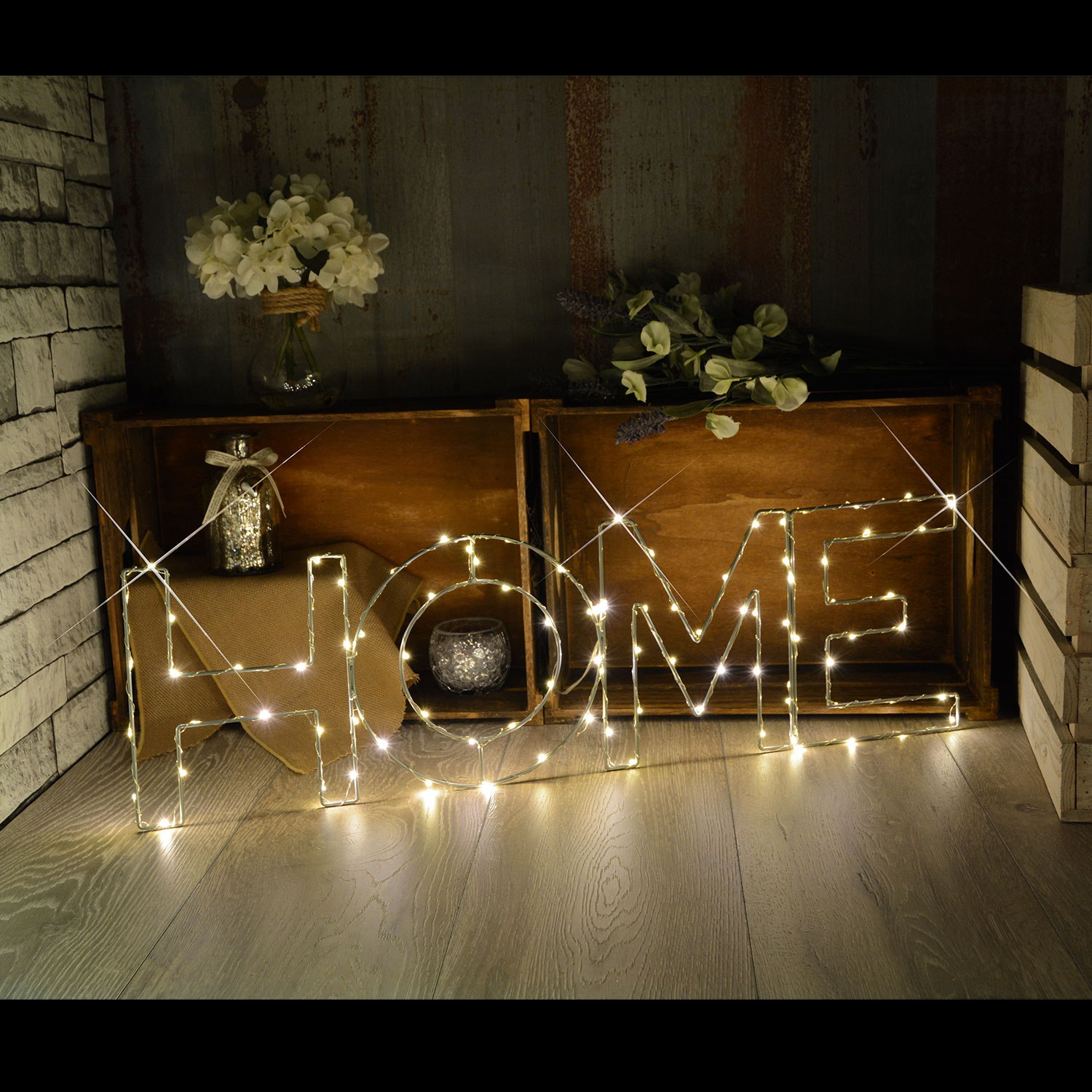 Large LED Wire Frame HOME Motif