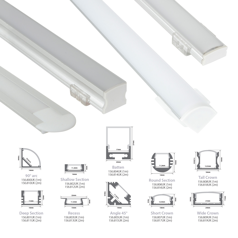 Aluminium LED tape profile 1m - recess