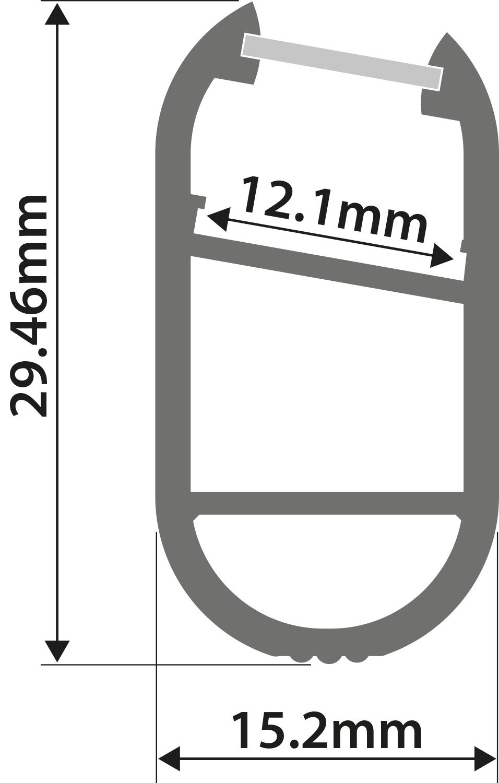 Alu LED Profile - Wardrobe 1m