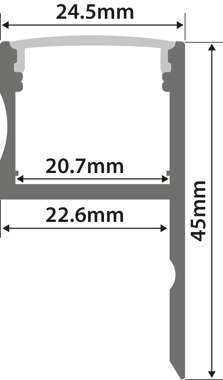 Alu LED Profile - Uplight h 1m
