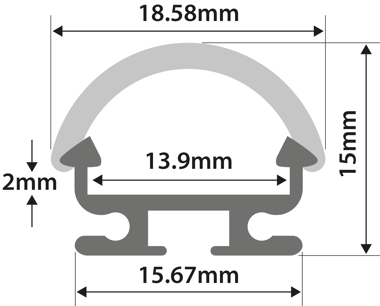 Alu LED Profile - D Section 1m