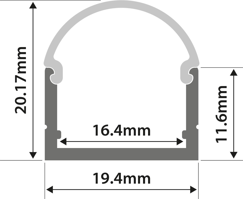 Alu LED Profile - U Section 1m