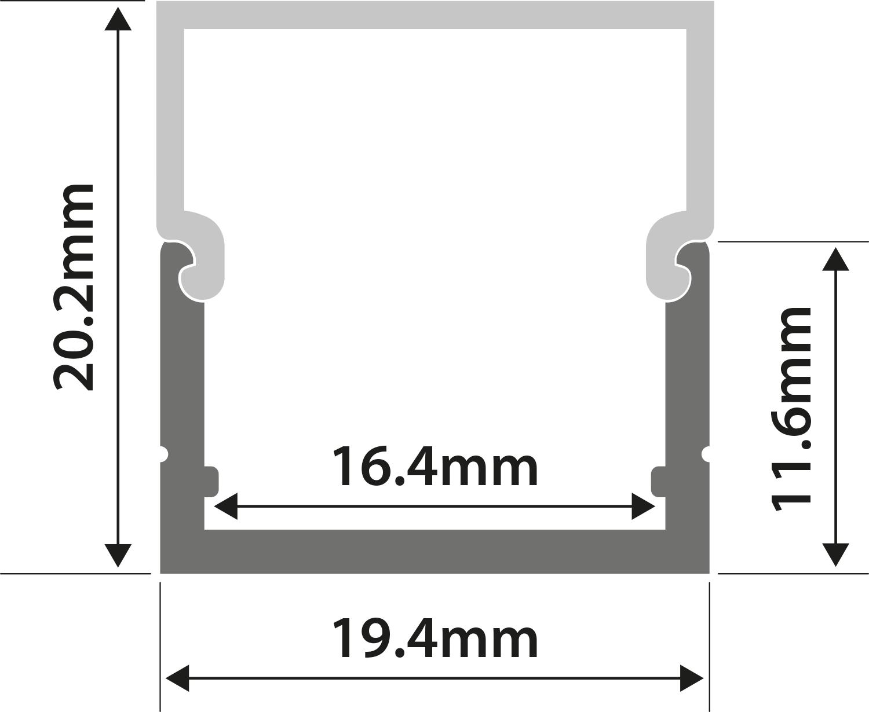 Alu LED Profile - Box Section 1m
