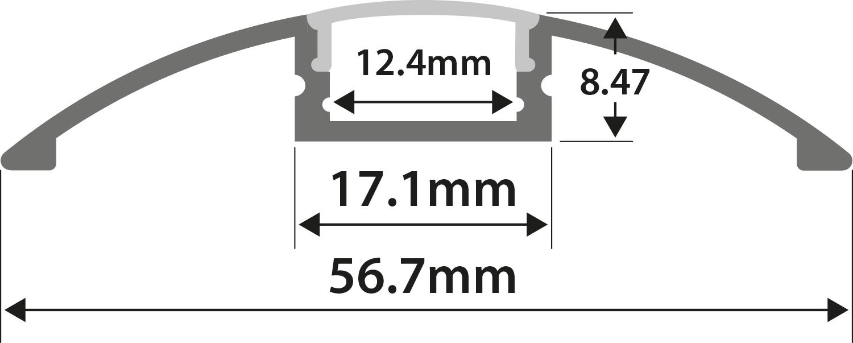 Alu LED Profile - Raised Bar 1m