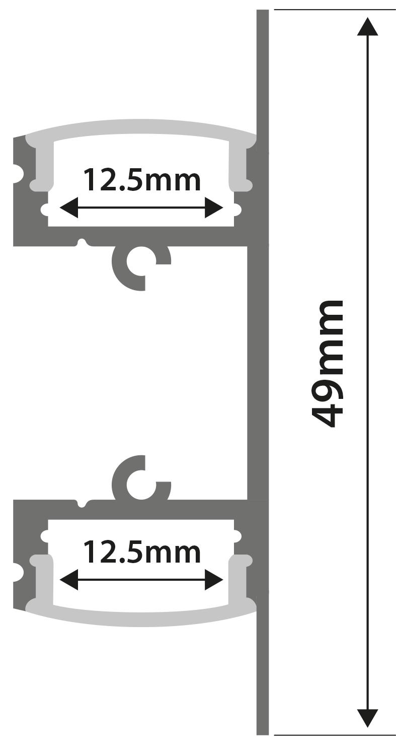 Alu LED Profile - 2-way Bar 1m