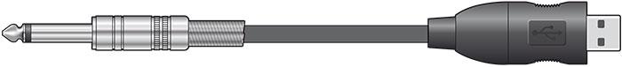 Mono 6.3mm Jack to USB converter lead