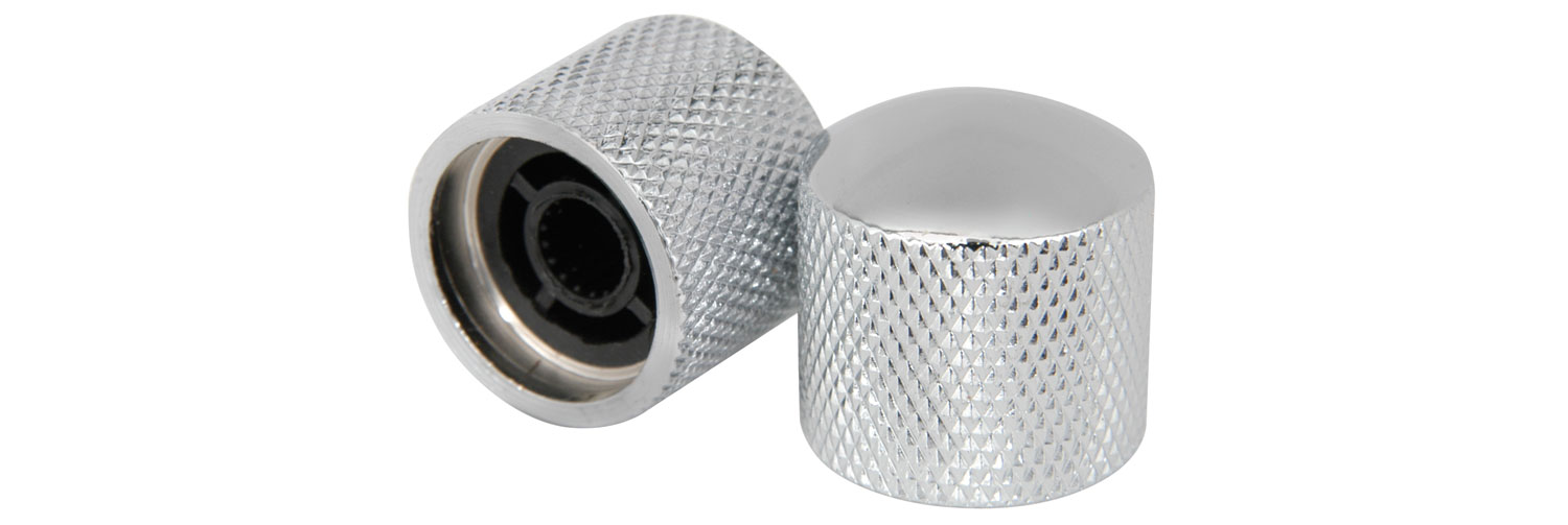 Pair Knurled Ctrl Knobs  - Chrome