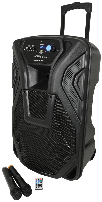 Busker-15 PA + 2 x VHF mics + USB/SD/FM/BT