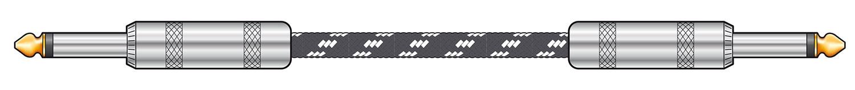 Classic Braided Guitar Lead Black/White 6.0m