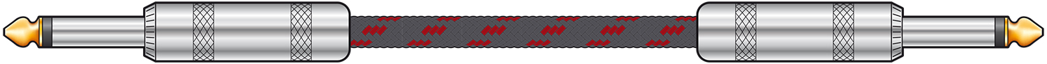 Classic Braided Guitar Lead Black/Red 6.0m