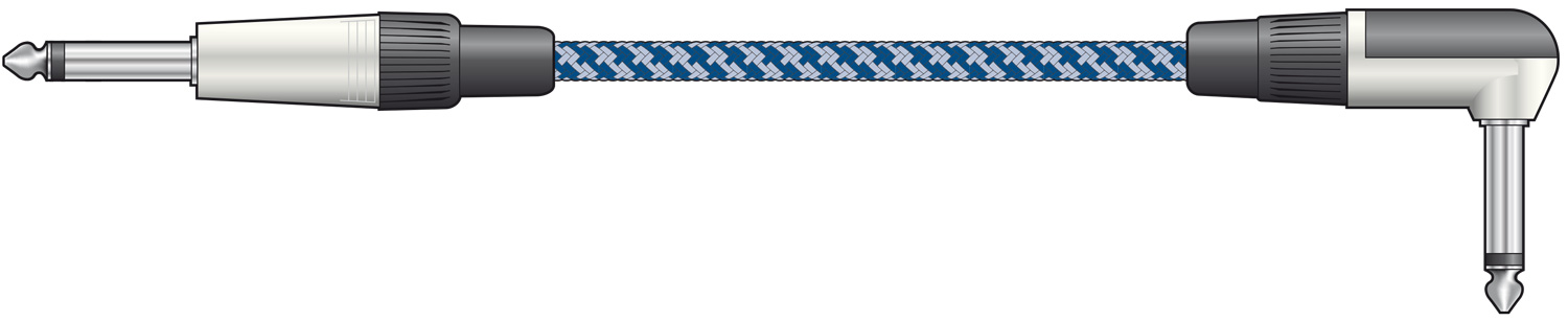 Classic Braided Right Angled Guitar Lead Blue/White 3.0m