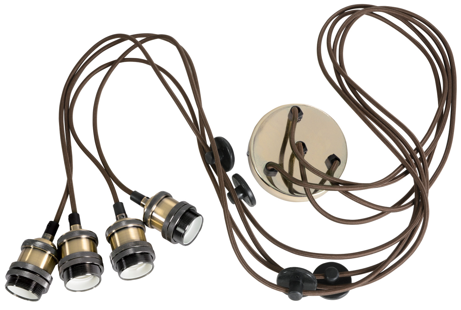Quad E27 Pendant Cord Set Antique Brass