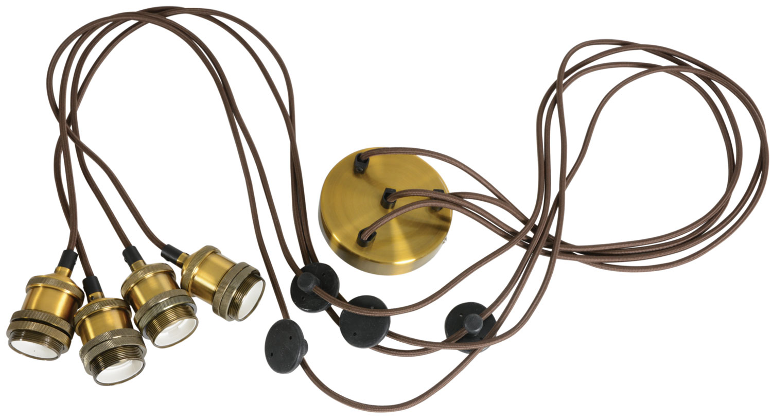 Quad E27 Pendant Cord Set Antique Gold