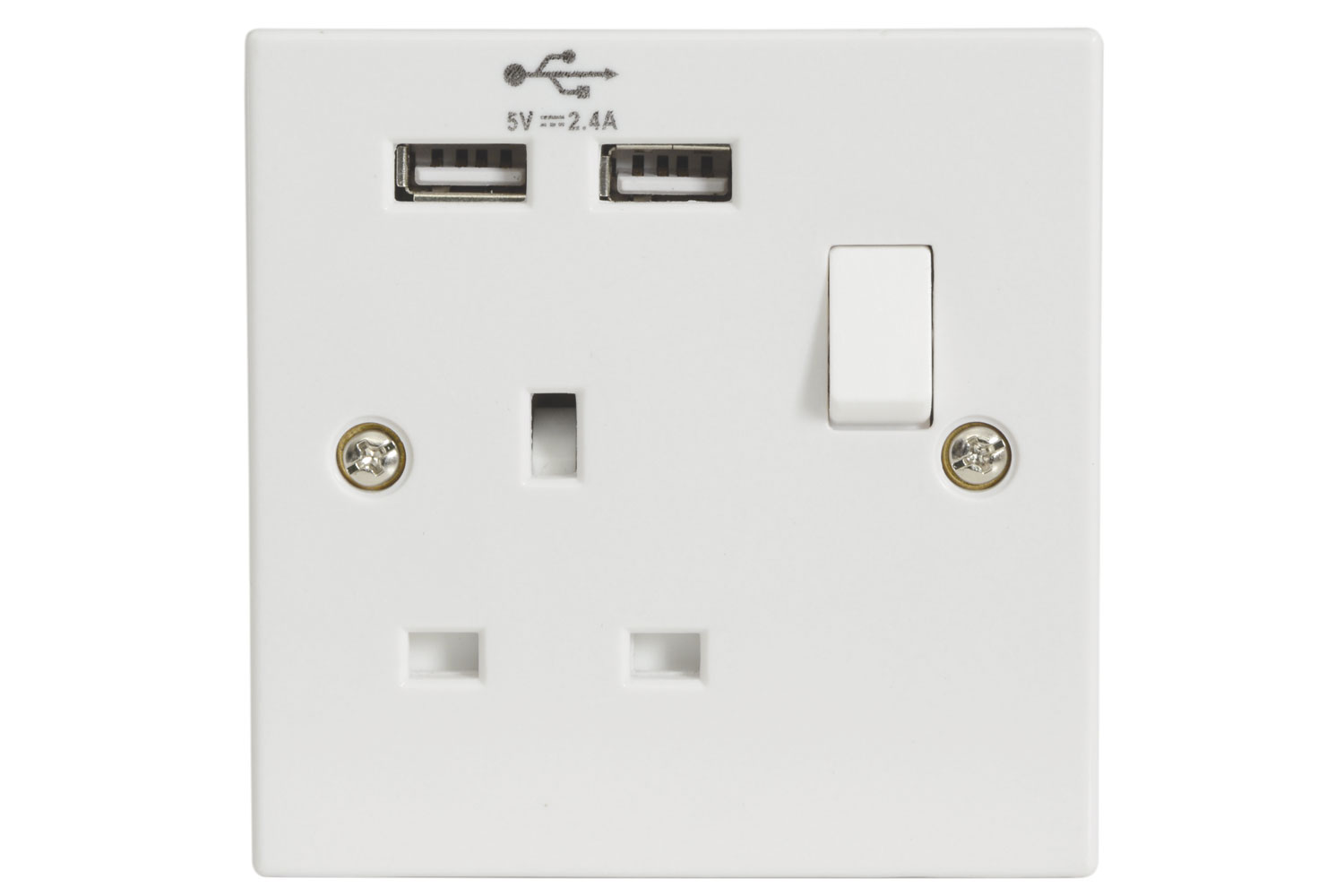 UK 1 Gang Switched Socket with 2 USB Ports
