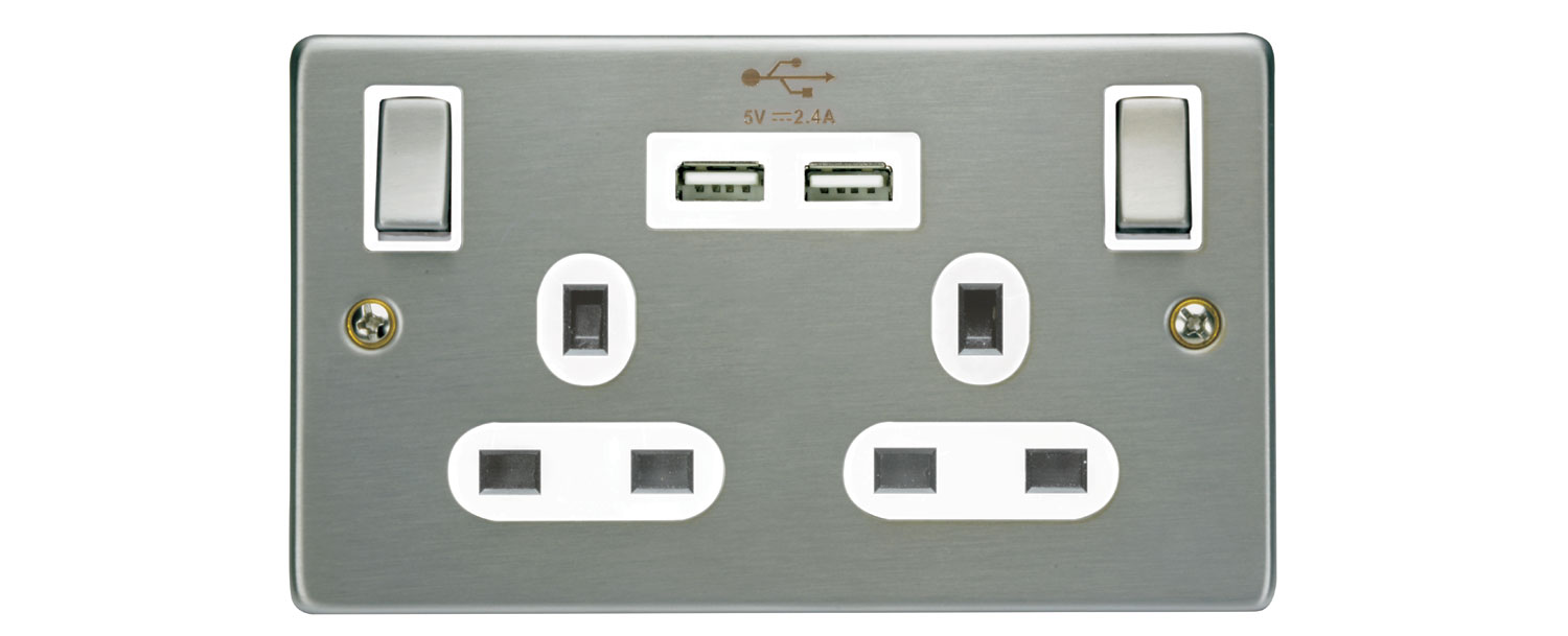 Brushed Steel Double Gang Wall Plate with USB