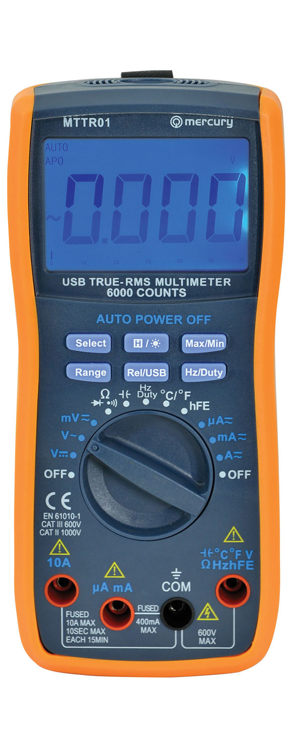 True RMS digital multimeter with USB interface