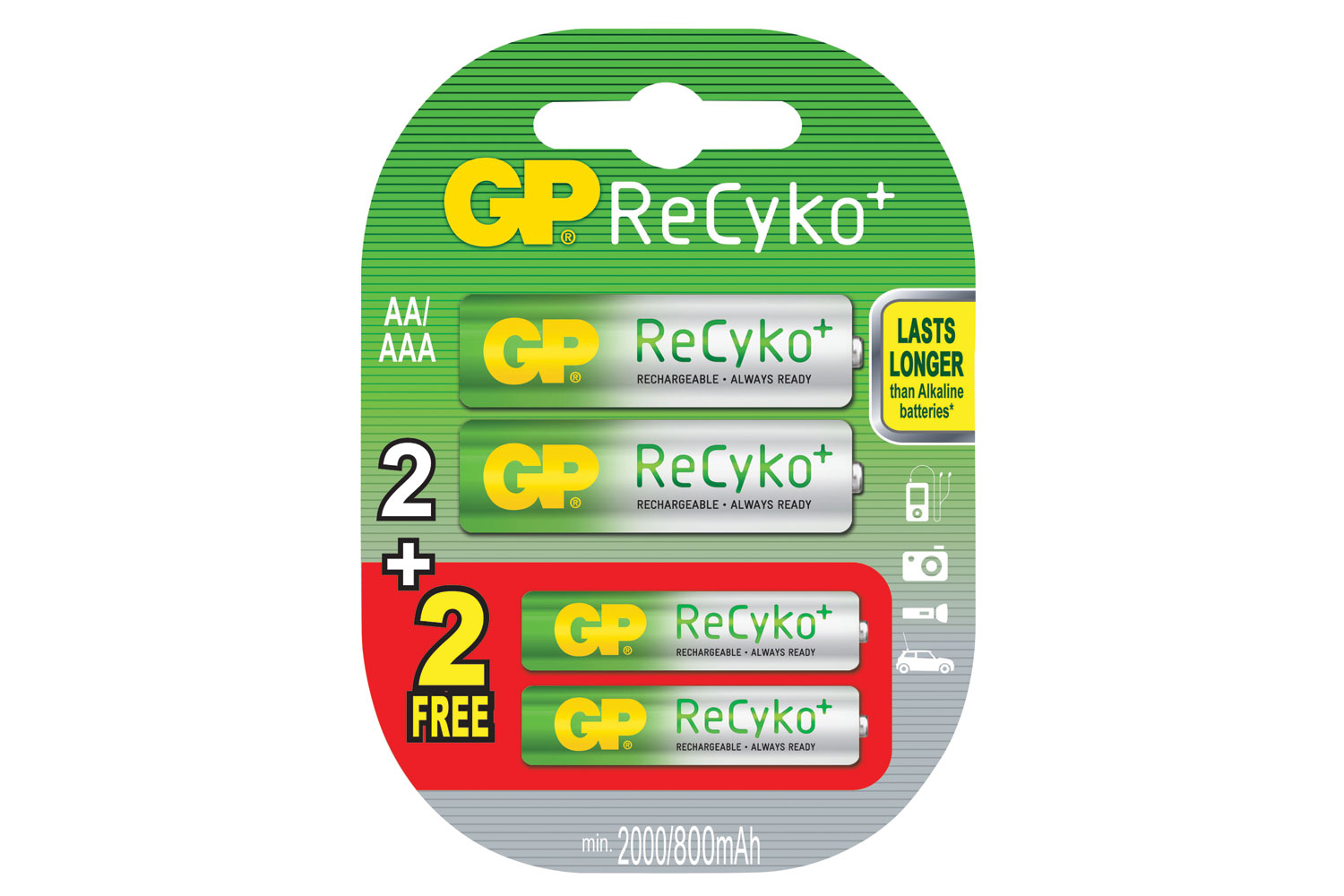 GP Recyko+ 2AA + 2AAA Special Offer Pack