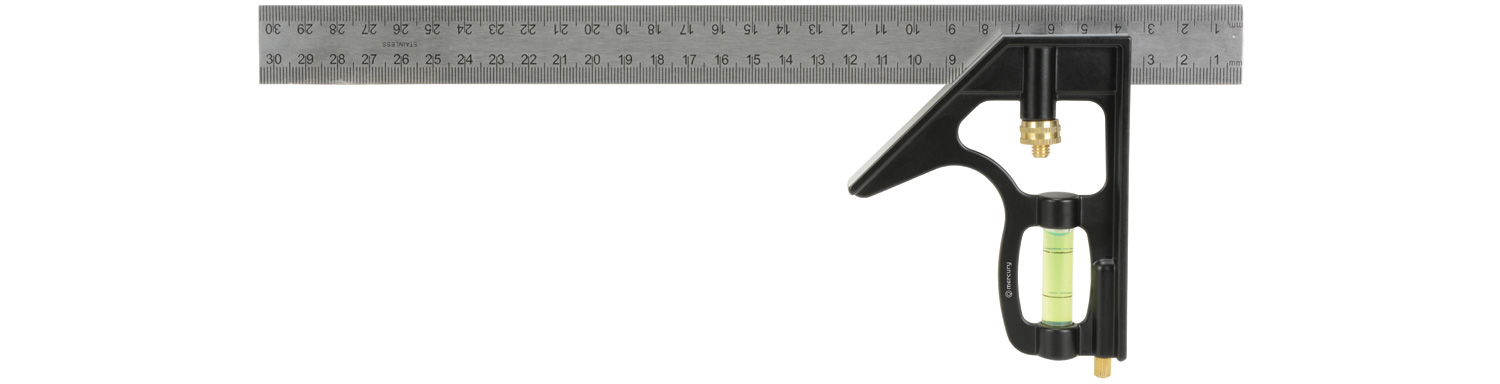 "12"" Combination Square with Spirit Level"