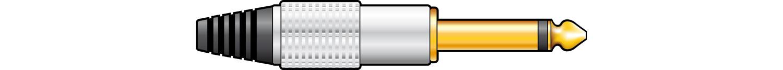 Gold plated 6.3mm jack plug, aluminium cover- mono