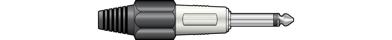 6.3mm mono plug, heavy duty, metal, Black