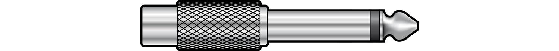 Adaptor 6.3mm mono plug to RCA socket, metal