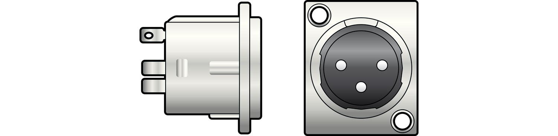 XLR chassis socket, 3-pin, square