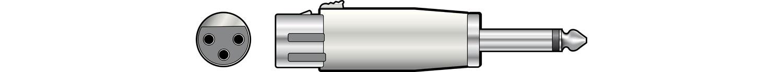 Adaptor XLR socket to 6.3mm mono plug