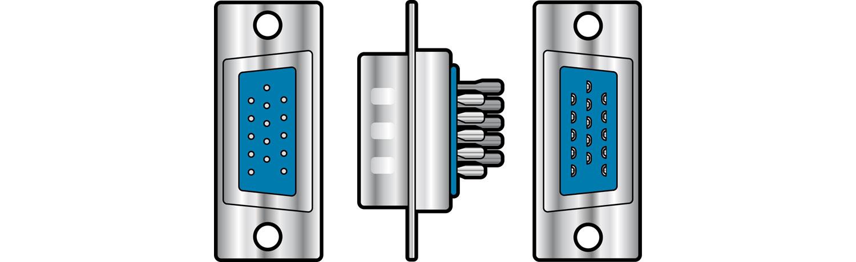 High density 15 pin D type plug