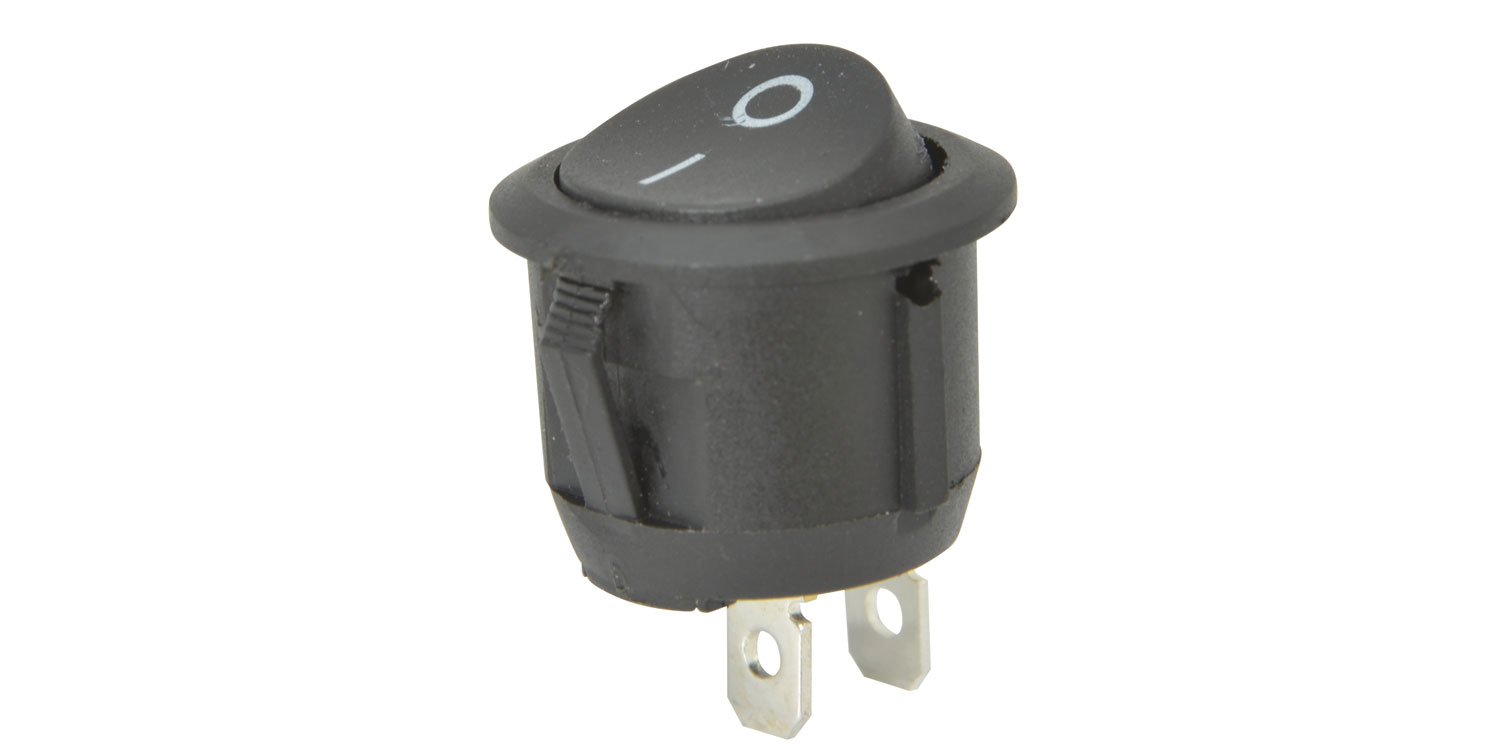 Rocker switch, 1 x on/off, Black, 250Vac, 6A