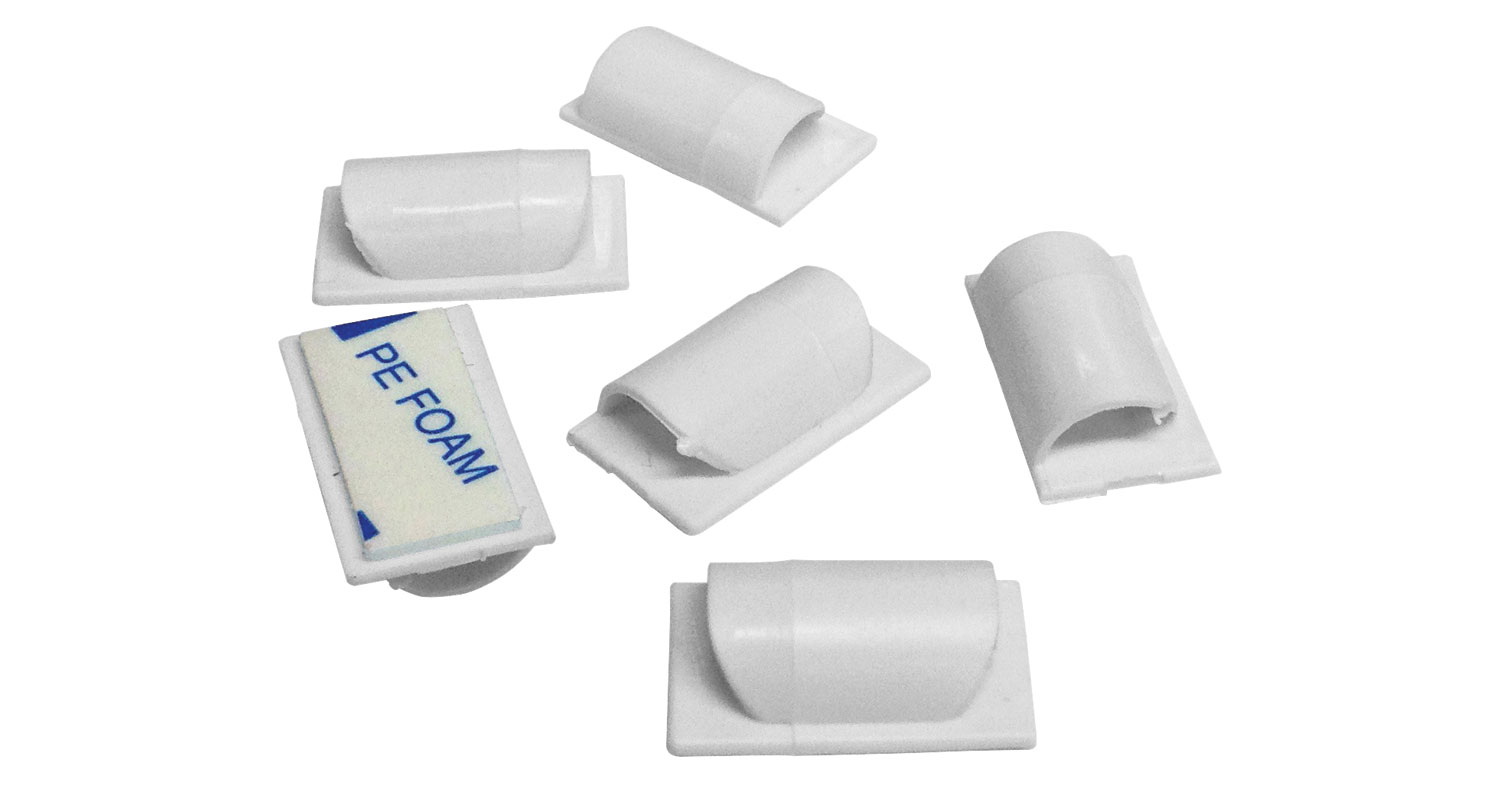 Cable Tidy Clips White pack of 6