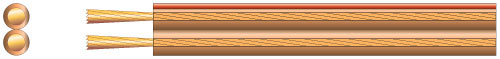 Transparent speaker cable, 2 x 126/0.1, 10A, Clear/Red, 100m
