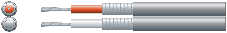 2 core inividual lap screen, 2 x 7/0.2mm, 2 x 35/0.15mm, Black, 100m