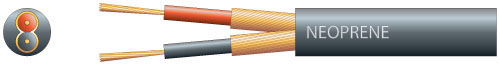 2 core neoprene, 2 x 12/0.18mm, 2 x 96/0.1mm, 6.5mm�, Black, 100m