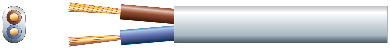 2 core oval mains PVC, 2 x 24/0.2mm, 6A, Black, 100m