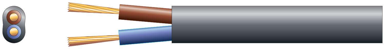 2 core oval mains PVC, 2 x 24/0.2mm, 6A, Black, 50m