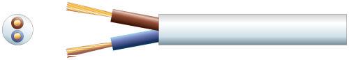 2 core round mains PVC, 2 x 24/0.2mm, 6A, 5.8mm�, Black, 100m